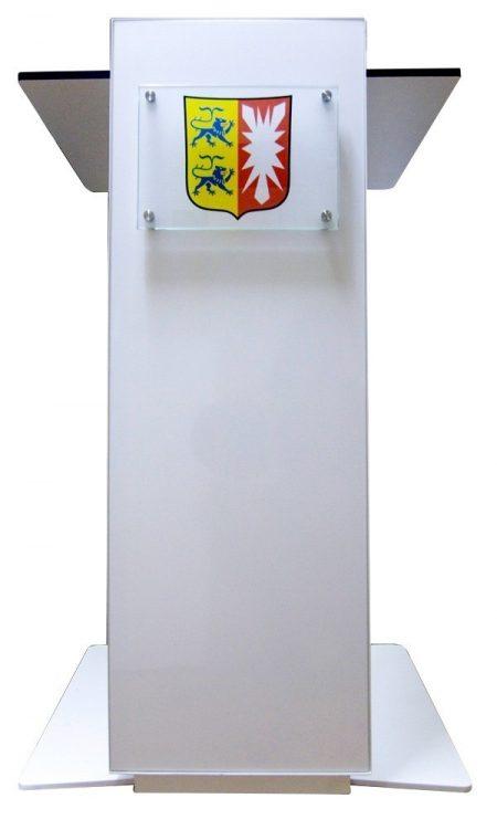 Loxa, höhenverstellbares Rednerpult-Stehpult, auch als elektrische Version erhältlich, eine Logoschild ist optional