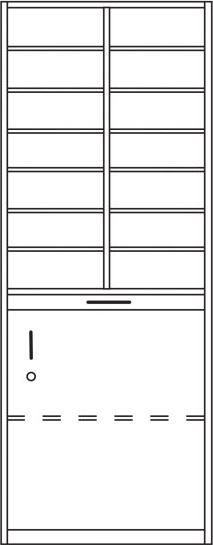 Postfachschrank-Postsortierschrank mit Türen, IP-625/D Bodenmodell