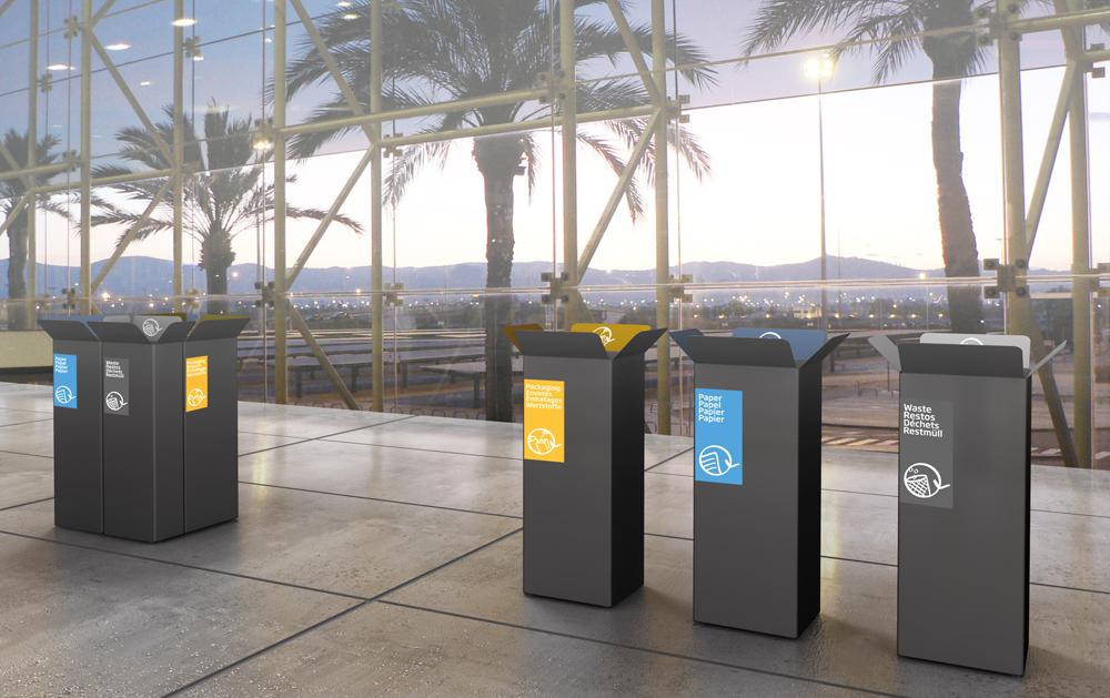 Abfalltrennung in Gewerbe und Handel im Innen- und Außenbereich-Card mülltrennsystem abfalleimer 9-