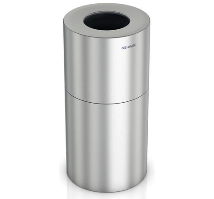 Clinic Duo Abfallbehälter-60 + 60L Abfallbehälter aus Aluminium. Das Produkt besteht aus einem Hauptkörper, einem Kopf und inneren Abfallbehältern.